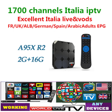 Italiaanse A95X R2 5000 + Europese IPTV Italiaanse iptv abonnement Smart TV Arabisch Frans andorid 7.1 tv box x96(China)