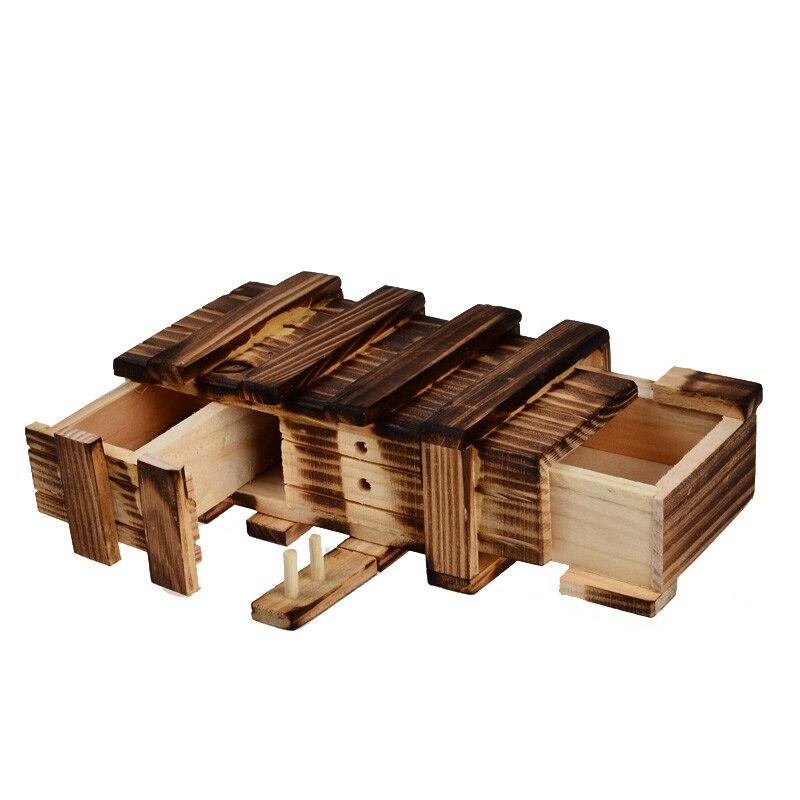 BOHS Antique Vintage en bois stockage caché magique cadeau boîte cerveau Teaser Puzzle boîte coffre jouet