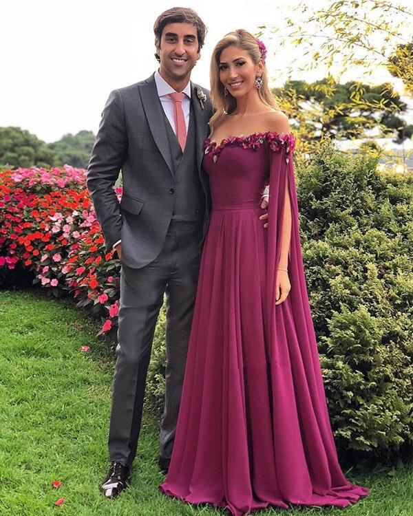 2018 הגעה החדשה ארוך לנשף שמלות הפרחוני 3D אלגנטית פרח שיפון מקיר לקיר ערב המפלגה שמלת שמלה