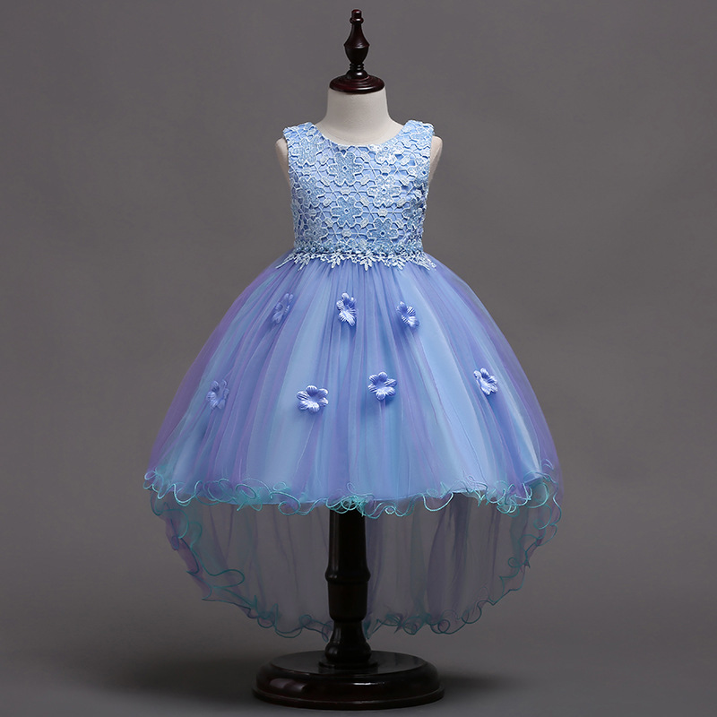 BAHEMAMIGirls Dress 2018 Children's Party Dress Children's Hand-embroidered Princess Dress Children's Mesh Tailing Evening Dress