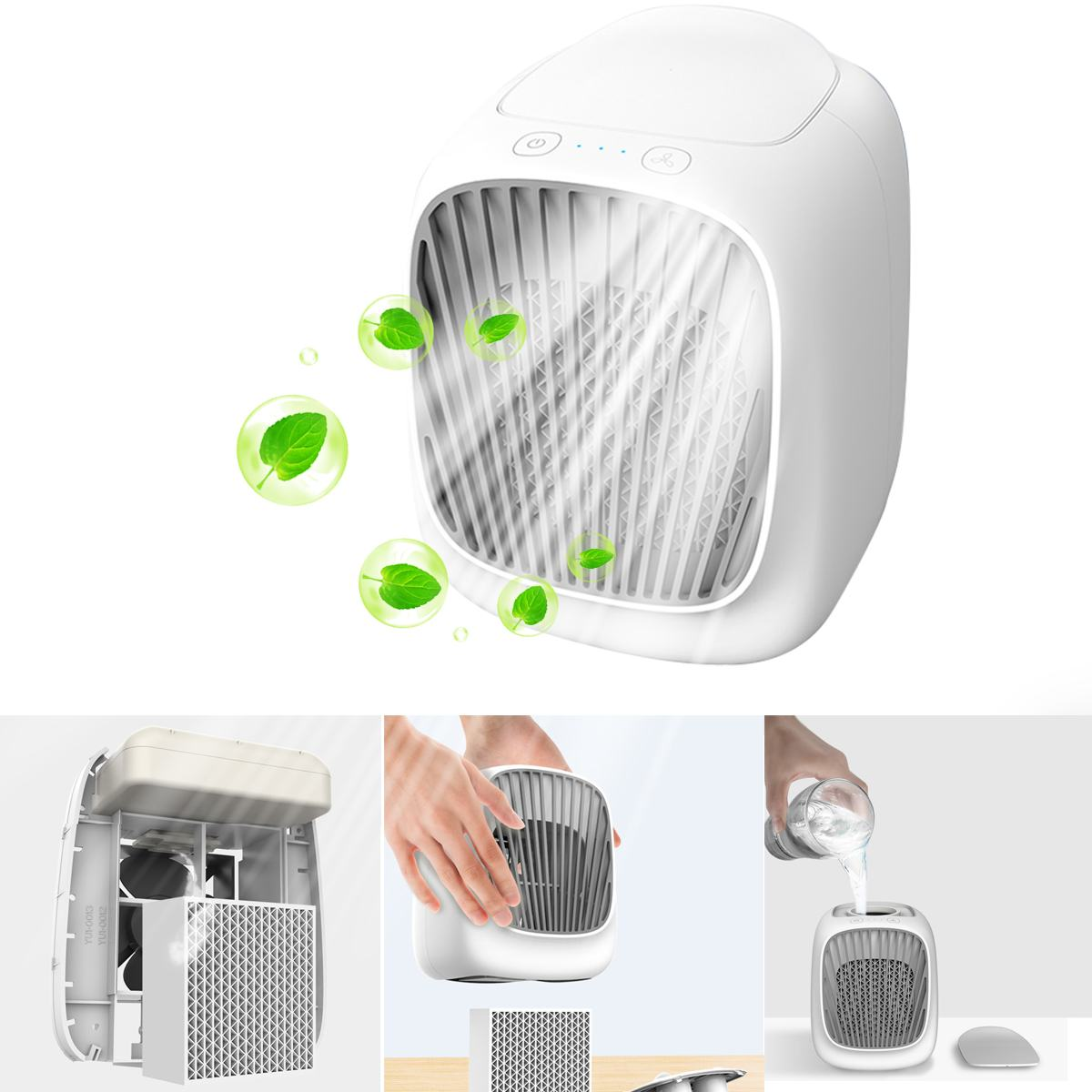 USB Charging Home Vents Mini Air Conditioner Office Water Cooling Fan Portable USB Air Humidifier Purifier Cooler Desktop Fan