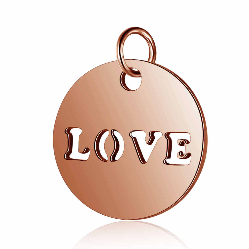 """5pcs/lot  Titanium steel """"LOVE"""" and angle  pendant Double hole connector Carved personalized"""