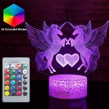 Jednorożec LED Remote 3D Nightlight Baby Night Light 16 kolor śliczne RGB lampa stołowa dziecko urodziny wakacje dziewczyna przyjaciel Kawaii prezent