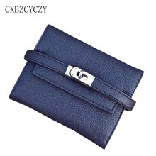 2017 Brand Wallet Women Luxury Leather Ladies Purse Short For Girls Small Card Holder Money Wallets Designer Lock Wallets Female