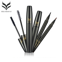 HUAMIANLI 3D Mascara Natural Fiber Eye Lash Waterproof Curling Colossal Lengthening Cosmetic Eyeliner Makeup Set