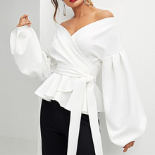2018 New autumn lady's sexy off-the-shoulder lantern sleeve blouse bow wrap waist shirt office blouse
