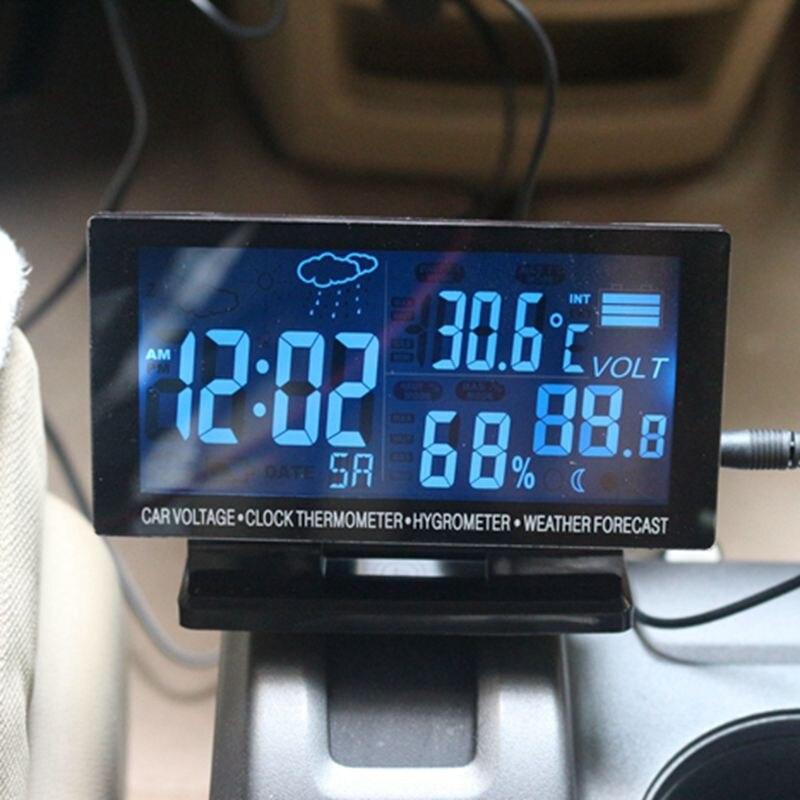 Vente chaude Écran lcd Voiture Thermomètre Horloge Hygromètre Numérique Automobile Mètre de La Température Prévisions Météo Intérieure et Extérieure