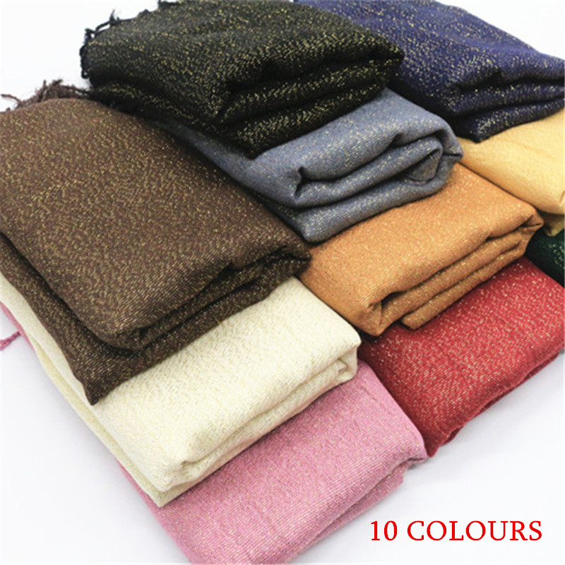10 colors Gold shimmer woman scarf solid color tassel scarves fashion shiny design soft viscose cotton shawl Muslim hijab scarf