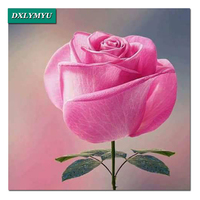 DIY Diamond Embroidery Lonely Pink Rose Full Square Diamond Painting 5D Picture Of Rhinestones Flower Wall
