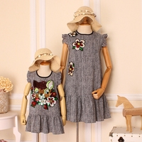 Luxury Mommy and Me Mother Baby Daughter Dresses 2017 with Flowers Elegent Real Photo Short Sleeve Summer Family Clothing Set