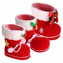 2 PCS / LOT 3 Sizes Red Flocking Boots Socks Creative Candy Gift Box Christmas Decorations for Home Adornos Navidad 2016 Natal