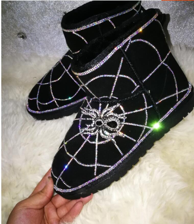 En Stroboscopique 2018 Noir Spider Web Bottes Porter Strass Neige Cuir Gaz Européenne Hiver Nouveau Station Étrangères w8wqSHa