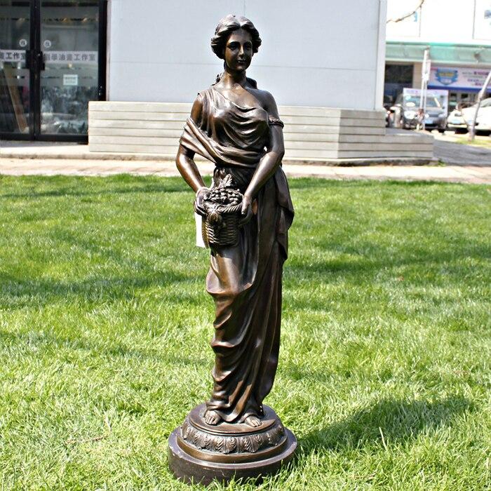 Outono menina artesanato escultura em bronze como presentes do negócio de decoração de Mobiliário de Casa de cobre