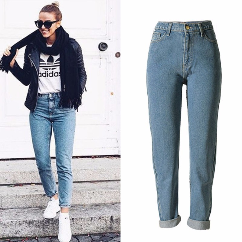 TryEverything Vintage Boyfriend Jeans For Women High Waist Puls Size Solid Casual Mom Jeans Women Straight Demin Jean Femme 2018