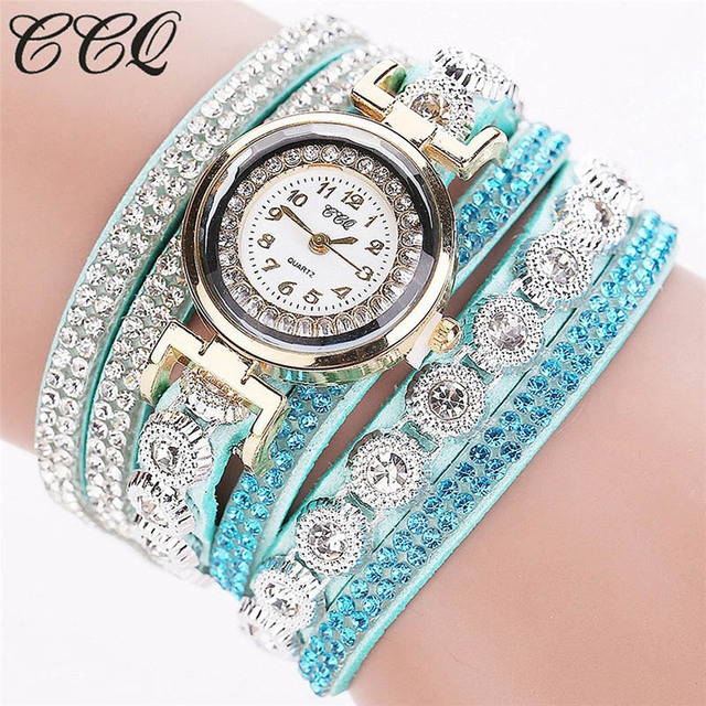 CCQ 2018 New Womes Watches Fashion Casual Analog Quartz Rhinestone Watch Bracele
