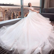 kejiadian Bridal Gowns short Sleeve Wedding Dress train