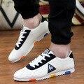 2016 Nueva Verano Hombres Low Top Zapatos Casuales de La Moda Transpirable con cordones Hombre Pisos Cómodos Forrest Gump Zapatos de Marea Diseño de gallo