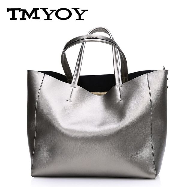 9b509fadea TMYOY metal color Luxury woman shoulder bag geniune leather women handbag  Cowhide top-handle blosas tote gift for mother WB053