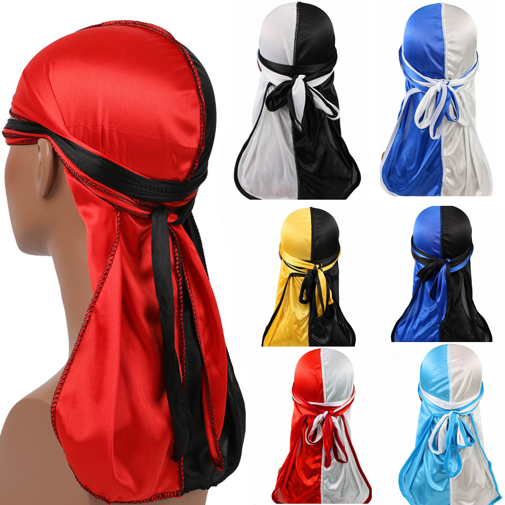 2019 New Hot Patchwork Silk Long Tail Scarf Cap Men's Satin Durags Bandanna Turban Wigs Men Silky Durag Headwear Pirate Hat(China)