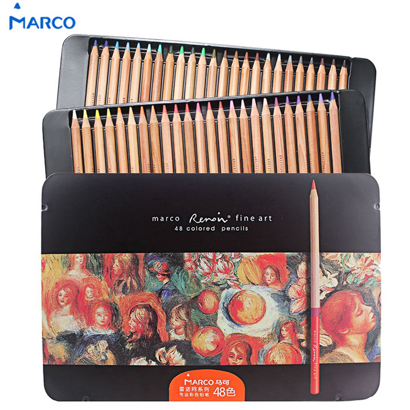 Marco Raffine Fine Art Colored Pencils 24 36 48 Colors Drawing Sketches Mitsubishi Colour Pencil for School Supplies marco raffine fine art colored pencils 24 36 48 colors drawing sketches mitsubishi colour pencil for school supplies