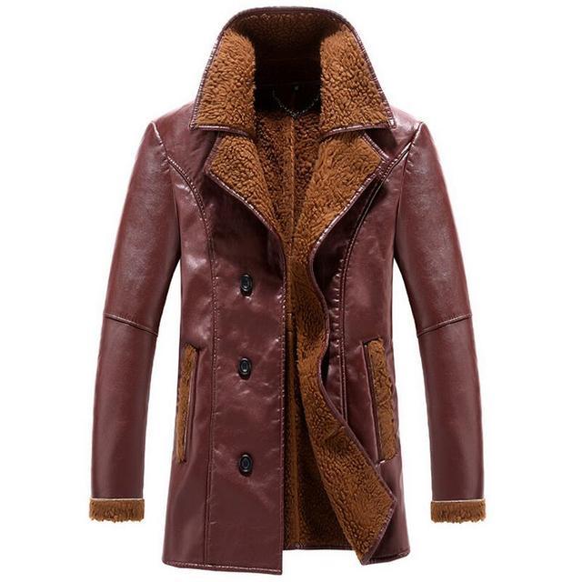 Мужская Кожаная Куртка 2017 Двубортный Бизнес Случайный Кожаная Куртка Мужчины Марка Одежда Плюс Бархат Зимние Кожаные Пальто Мужчины