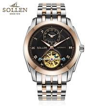 370b8510a79 Relogio masculino SOLLEN Mens Relógios Top Marca De Luxo Turbilhão Máquinas  Automáticas Homens Relógio Esqueleto de