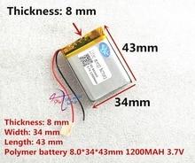 Liter energy MP3 3.7V polymer lithium battery 803443 1200MAH GPS navigation mobile
