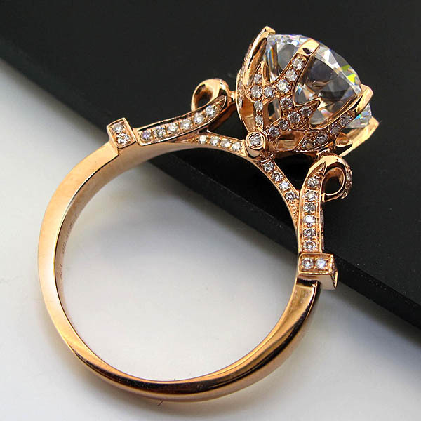 Solid 925 Silver Ring 18k Rose Gold Plated Colorful Gold 5ct