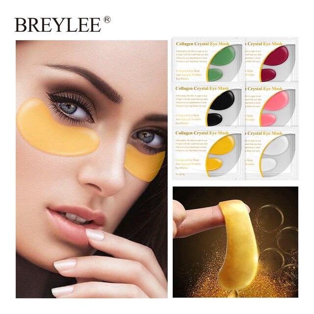 BREYLEE 24K Gold Eye Mask Collagen Crystal Serum Eye Patches Anti Wrinkle Puffiness Dark Circle Skin