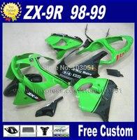 Пользовательские мотоцикла обтекатели комплект для kawasaki ninja 1998 1999 ZX9R ZX 9R цвета: зеленый, черный наборы обтекателей 98 99 ремонт части тела
