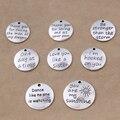 Yage 8 unids Aleación Cartas Encantos de plata Tibetana Colgante para la joyería que hace, Sueño, Más Fuerte, un día a la un momento, hermana, sol