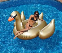 70inch 190cm Giant Gold Swan Float Inflatable Flamingo Ride On Pool Floating Lounge For Adults Summer Water Toys Swimming Ring
