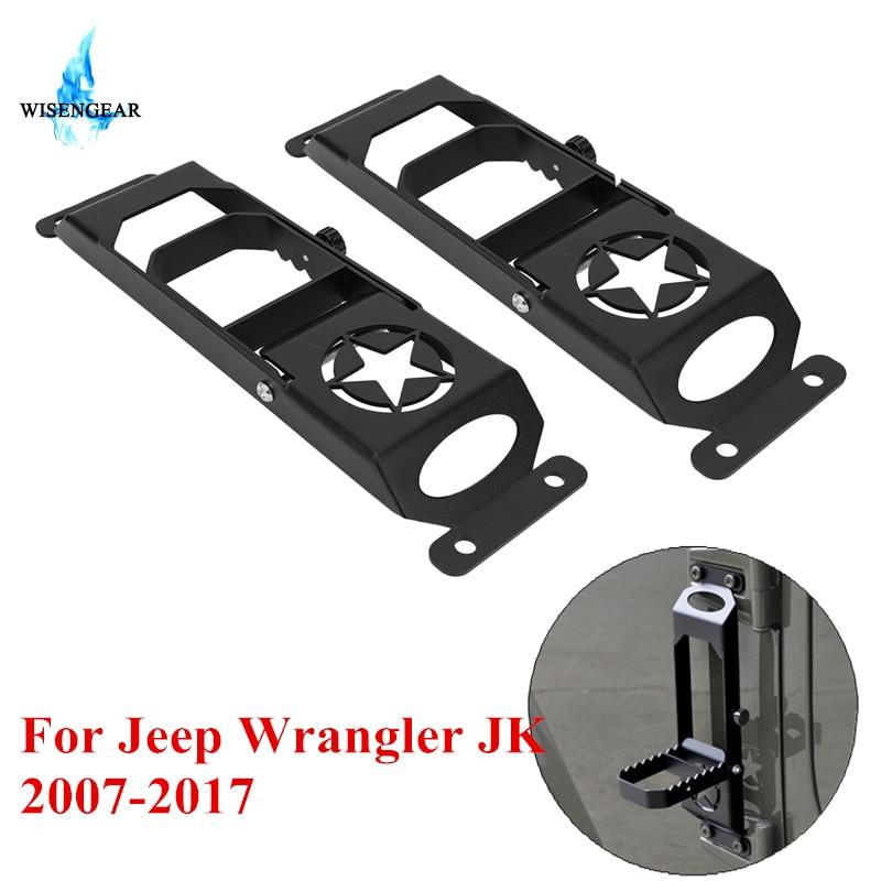 WISENGEAR Anti Rust Steel Foot Rest Pedal Foot Pedal Peg For Jeep Wrangler JK 2007 2017
