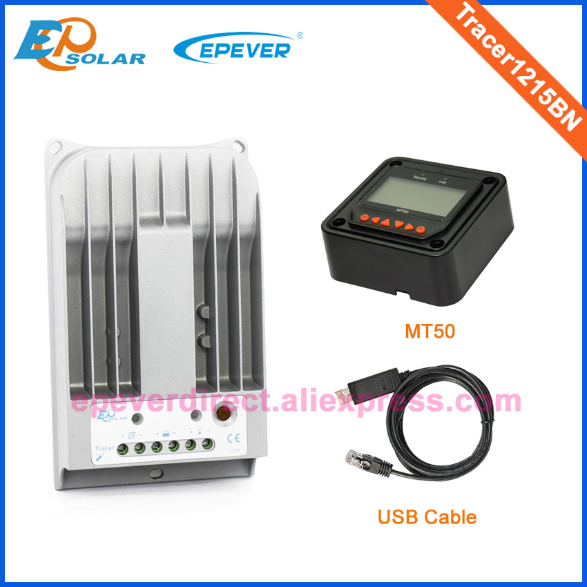 EPsolar MPPT solar controller 12V/24V auto type with MT50 remote meter in black color and USB Tracer1215BN 10A mppt solar tracking series solar controller tracer1215bn 10a 10amp 12v 24v auto type with usb cable and white mt50 remote meter