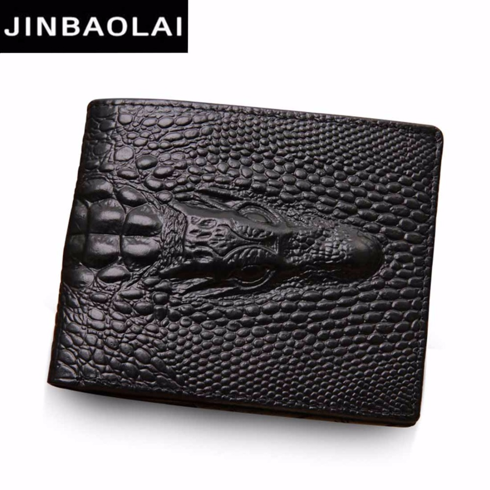 Genuine Leather Men Wallets Crocodile pattern Coin Pocket Black Short Men Leather Wallet Card Holder High Quality Male Purse 2016 new arrival brand short crocodile men s wallet genuine leather quality guarantee purse for male coin purse free shipping