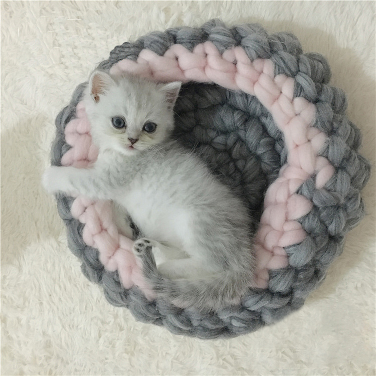Qualified Size 20cm/30cm Hand-woven Coarse Wool Pet Nest Winter Soft Cat Bed Warm Dog-house Pet Supplies Chunky Knitted Kennel Mat Apparel Accessories