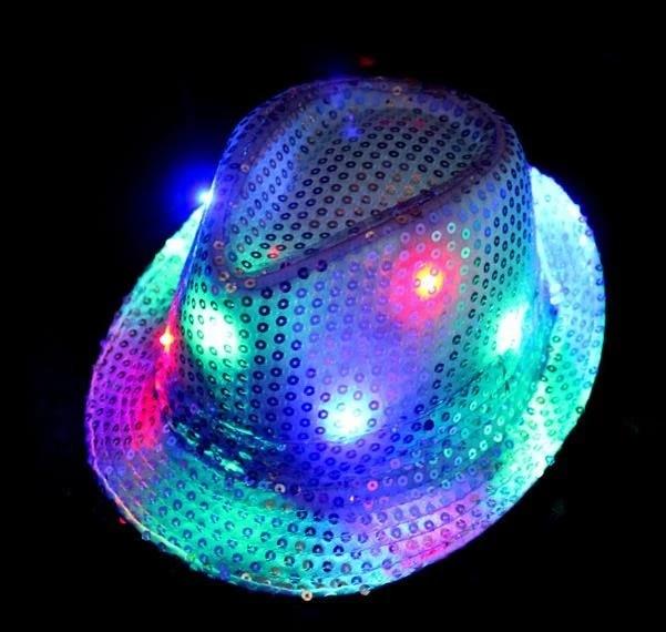 LED Light Up Blinking Flashing Sequin Jazz Cap Party Dancing Hat Party Stylish