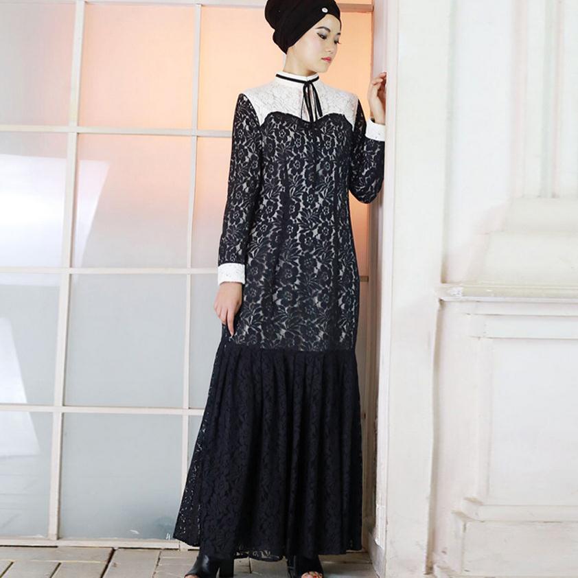 890cff6af S-5XL más tamaño musulmán hembra adulta oración cordón ruffer costura abaya  Turchi turco hijab abaya vestido islámico wj77 por encargo