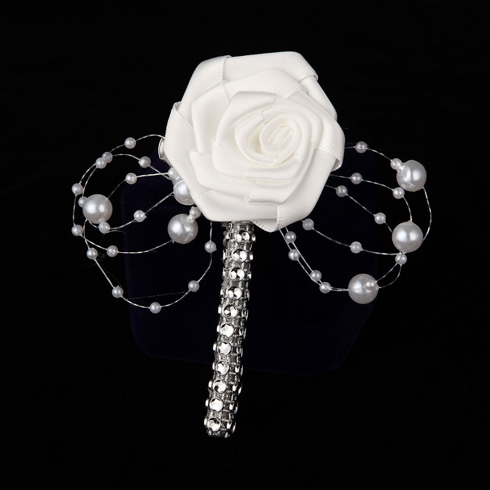 1PC HandMade Groom Boutonniere White Ribbon Rose Wedding Bouquet Flower Groomsmen Corsages Party Prom Man Suit Accessories