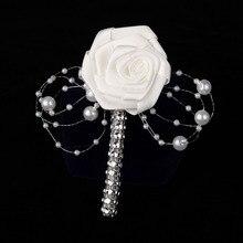 1 UNID Hecho A Mano Blanco Cinta de Rose Flor Ramo de la Boda de Los Padrinos de boda Del Novio Boutonniere Corsages Partido Prom Traje de Hombre Accesorios