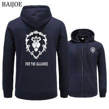 BAIJOE Hoodies Men 2018 New Game WOW ALLIANCE&Horde Print Hip Hop Sweatshirt Mens casual Hoodies Fashion hooded male Clothing