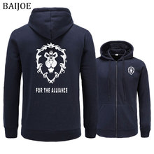 Baijoe hoodies men 2018 새로운 게임 wow alliance & horde 인쇄 힙합 운동복 남성 캐주얼 후드 패션 후드 남성 의류