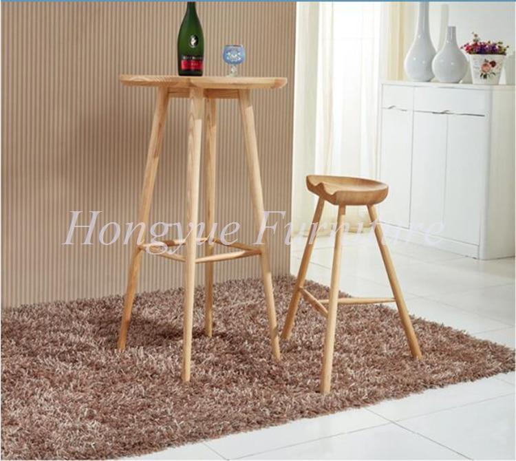 living room oak wood bar stool table furniture set
