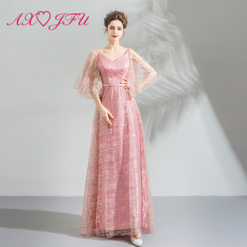 AXJFU luxury princess pink lace gold sequins sparkly   evening     dress   vintage v neck flare sleeve lace up pink   evening     dress   9189