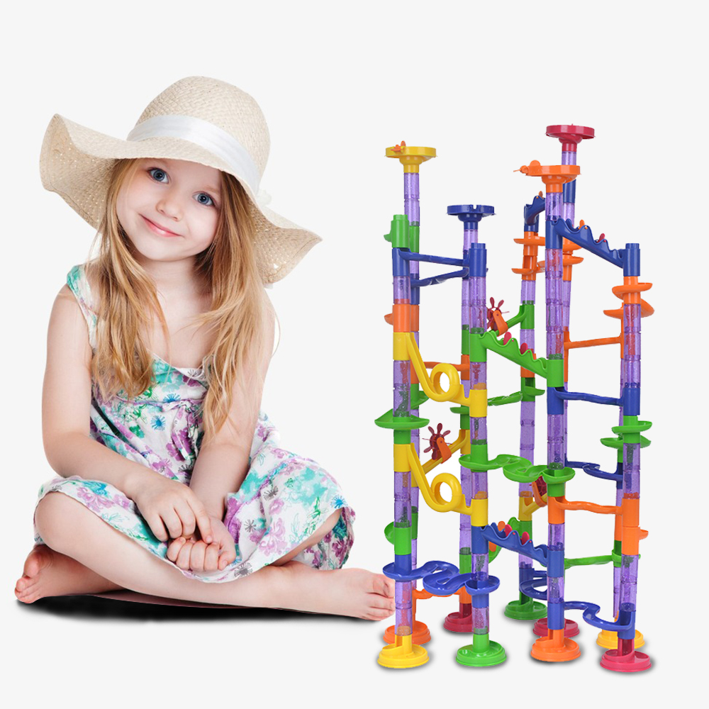 SuSenGo 150pcs DIY Marble Run Intellect Ball Tracks Game Maze Balls Children Puzzle Educational Set Children Kids Gifts Toys 3d magical coin intellect maze ball kids amazing balance logic ability toys educational iq trainer game for kids chirstmas gifts