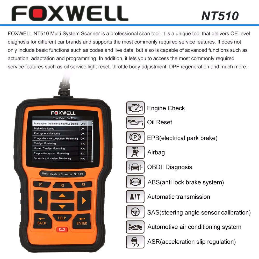 US $166 0 |FOXWELL NT510 for Ferrari OBD2 Car Scanner ABS Air Bag  Transmission Gear Box Diagnostic Tool for Ferrari 458 499 Challenge ENZO-in  Engine