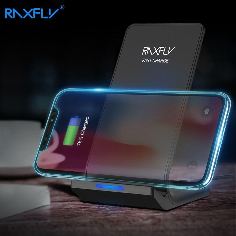 RAXFLY 10 W cargador inalámbrico para iPhone XS Max XR XS X 8 más para la galaxia S9 S8 más nota 9 8 Qi cargador de carga inalámbrico