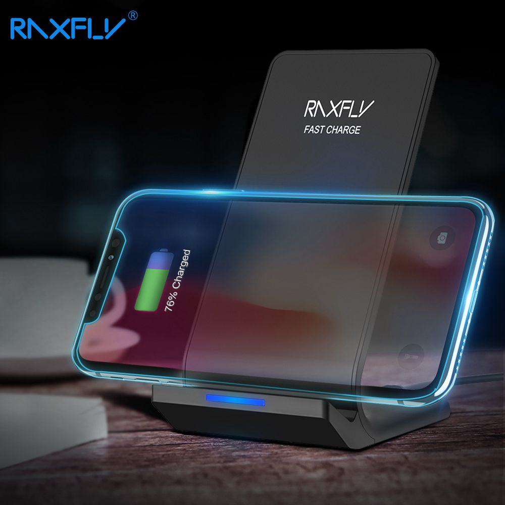 RAXFLY 10W Wireless Charger For iPhone X 8 Plus Samsung Galaxy S8 Plus Note 8 5 S7 S6 Edge Qi Wireless Charger Charging Pad Pod