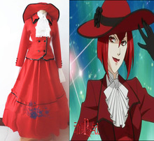 Black Butler Angelina Dalles Madam Red dress anime Cosplay Costume 4 in1 shirt+coat+ short pants+ hat Vintage ball gown dress