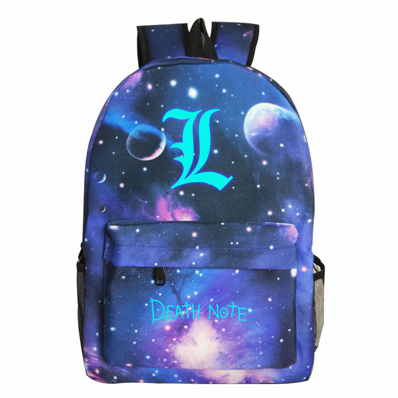 DEATH NOTE Comics Printing Men Women Backpack Fashion Starry Sky Teenagers School Bag Large Capacity Travel Rucksack